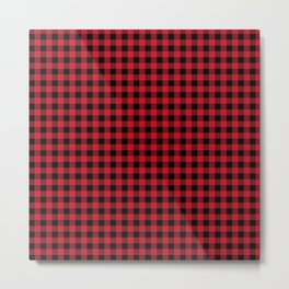 Winter red and black plaid christmas gifts minimal pattern plaids checked Metal Print