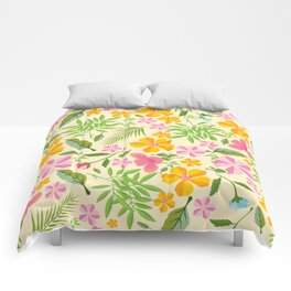Abstract sunshine yellow pink tropical floral Comforters