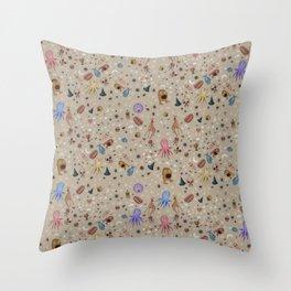 Dreams & Nightmares (on Khaki Beige Background)  Throw Pillow
