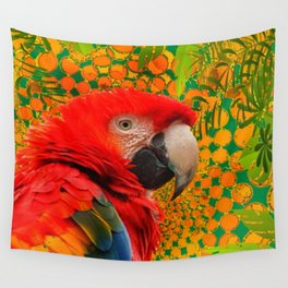 MODERN ART RED MACAW GREEN JUNGLE PATTERNED DESIGN Wall Tapestry
