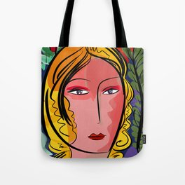 French Elegant Girl Pop Portrait Tote Bag