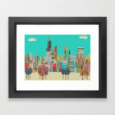 Chicago city (summer days) Framed Art Print