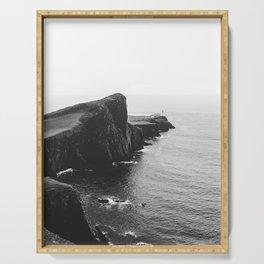 Scottish coastline black and lonely lighthouse – Minimalist Landscape Photography Serving Tray