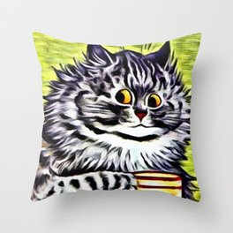 "Louis Wain's Cats ""Kitty On Coffee Break"" Throw Pillow"