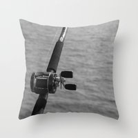 fishing Throw Pillows featuring Fishing by Raymond Earley