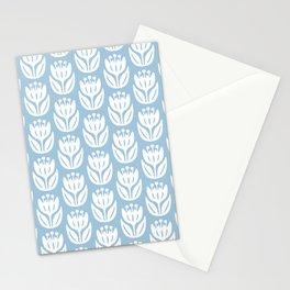Mid Century Modern Flower Pattern Pale Blue 333 Stationery Cards