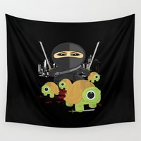 turtles Wall Tapestries featuring Ninja Turtles by Adamzworld