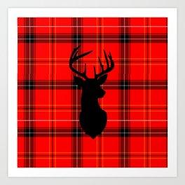 Deer on Plaid Art Print