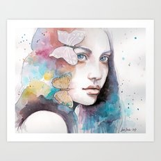 Lady with a butterfly Art Print