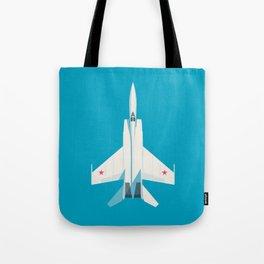 MiG-25 Foxbat Interceptor Jet Aircraft - Cyan Tote Bag