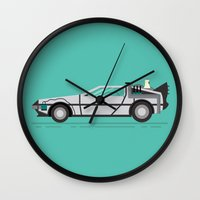 back to the future Wall Clocks featuring Back to The Future by HypersVE