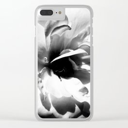 Petals in Black and White Clear iPhone Case