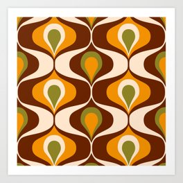 Retro 70s ovals op-art pattern brown, orange Art Print