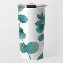 green eucalyptus watercolor Travel Mug