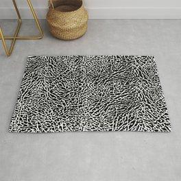 Elephant Print Texture - Black and White Rug