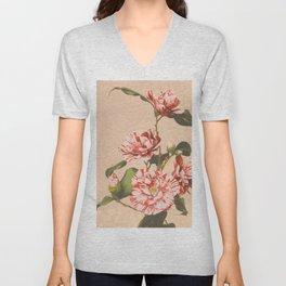 Ogawa Kazumasa - Striped Camellias Unisex V-Neck