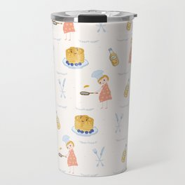 Cute girl cook with pancake and chef hat illustration Travel Mug