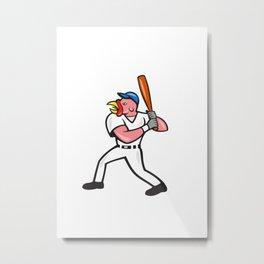 Turkey Baseball Hitter Batting Isolated Cartoon Metal Print