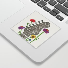 You belong among the wildflowers. Tom Petty quote. Watercolor guitar illustration. Hand lettering. Sticker