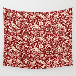 Pheasant and Hare Pattern, Deep Red and Cream  Wall Tapestry