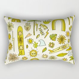 doodle daydreams sunshine and good vibes // retro art by surfy birdy Rectangular Pillow
