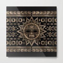 Aztec Sun God Gold and Black Metal Print