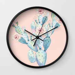 Rose Desert Cactus on Pink by Nature Magick Wall Clock