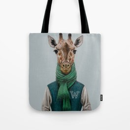 the giraffe in jacket. Tote Bag