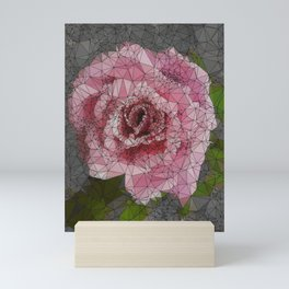 Pink Rose, Low Poly, Triangulated Mini Art Print