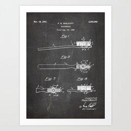 Toothbrush Patent - Bathroom Art - Black Chalkboard Art Print