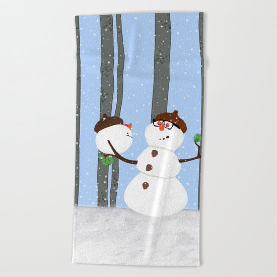 Snowman Funny Holiday Design Beach Towel