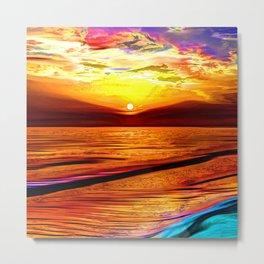 Irish sea at sunset Metal Print