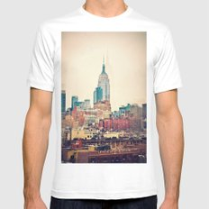 NYC Vintage style MEDIUM Mens Fitted Tee White