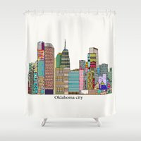 oklahoma Shower Curtains featuring oklahoma city skyline by bri.buckley