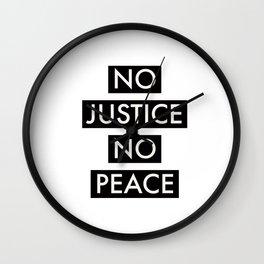 No Justice No Peace Wall Clock