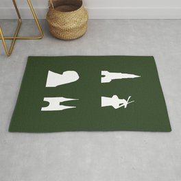 Delft silhouette on green Rug