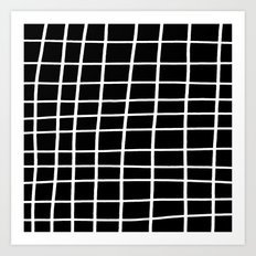Hand Grid Large Black Art Print