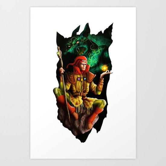 A wizard in the dark Art Print
