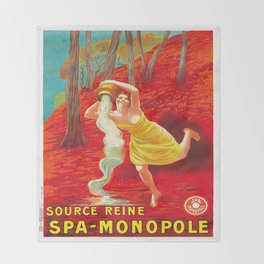 Vintage poster - Source Reine Throw Blanket