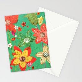 Glam Floral Pink Stripe Gold Glitter Stationery Cards