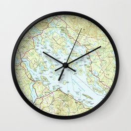 Lake Winnipesaukee Map (1986) Wall Clock