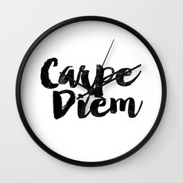 Carpe Diem black and white monochrome typography poster design bedroom wall art home room decor Wall Clock