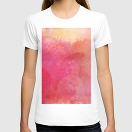 Pink Butterfly Vintage Roses Background Pattern T-shirt