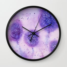Purple thistles Wall Clock