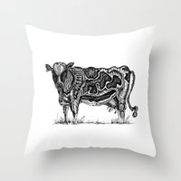 cow Throw Pillows featuring Cow by Rebexi