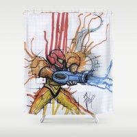 metroid Shower Curtains featuring Metroid Samus Ink by chris panila