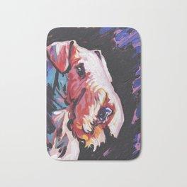 Fun Airedale Terrier Dog Portrait bright colorful Pop Art by LEA Bath Mat