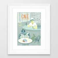 cafe Framed Art Prints featuring Cafe by The Printed Peanut