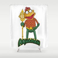 aquaman Shower Curtains featuring Scooter the Aquaman by JoshEssel