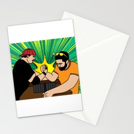 Funny Colorful Arm Wrestling Stationery Cards